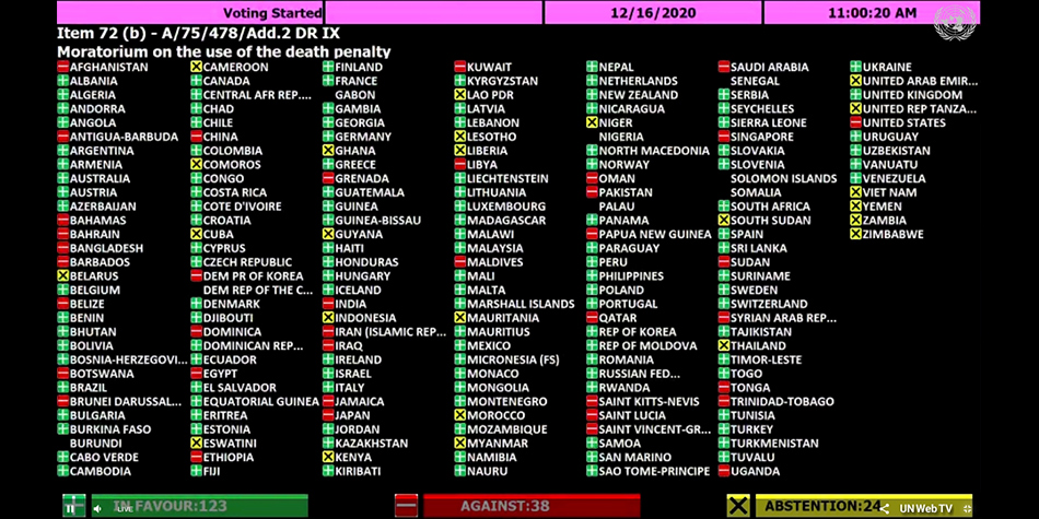 UN Moratorium Plenary Session Vote